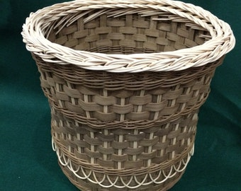 "Fancy Wastebasket with distinctive brown (""smoked"") reed"