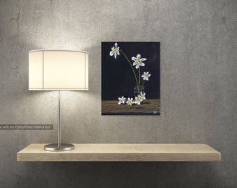 ART: Original Art,  12x16, Oil Painting ,White Flowers, Black Background, still life, on Canvas