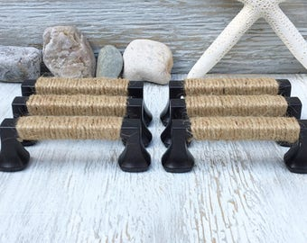 Rope Handles Drawer Pulls Nautical Decor Coastal Decor Shabby Chic Beach  Decor Beach Cottage Cabinet Door Furniture Knobs Seaside Square 6