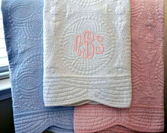 Heirloom Baby Quilt, Baby Quilt, Quilted blanket, Monogram quilt, baby shower gift, cotton baby quilt, monogram baby quilt, Baby blanket