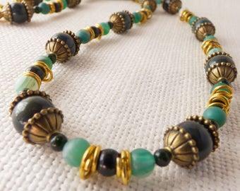 Green, Gold and Bronze Semi Precious Gemstone Necklace