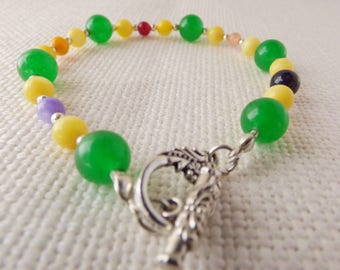 Green and Cats Eye Beaded Braclet