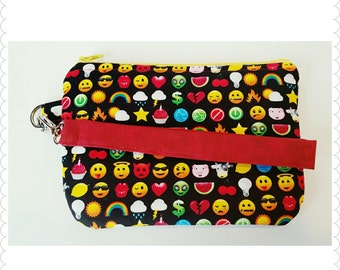 Emoji wristlet, coin purse, zipper pouch, ready to ship
