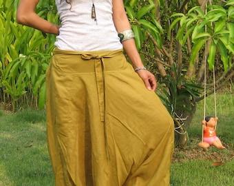 Harem Pants Women Baggy Pants Aladdin Yoga Pants Harem Baggy Pants Men Gypsy Pants Harem Boho Pants * HL - gold