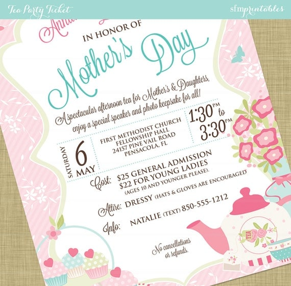 Women'S Tea Flyer Invitation Postcard Poster Template