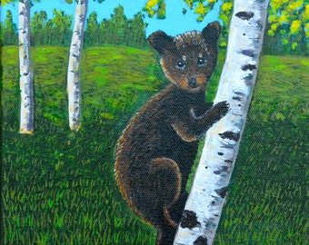 Bear Painting, Original Painting, Bear in a Aspen Tree, Bear Art, Acrylic Painting, Aspen Tree Painting, Gift Idea, 8x8in, MADE TO ORDER