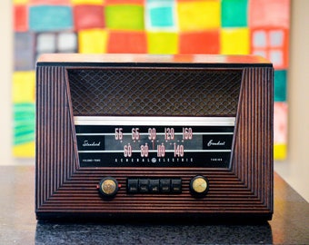 Bluetooth Speaker: 1940's GE General Electric Antique Radio iPod/Android/Mp3 Speaker With Tube Amplifier Restored Option