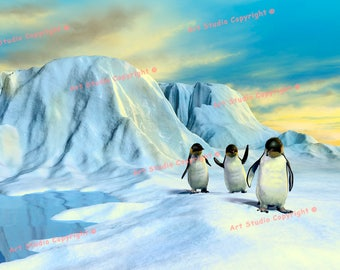 """Antarctica Penguins Mixed Media Canvas Giclee, Acrylic Art W Gallery Wrap Ready To Hang Up To Size 34X24X1.5"""""""