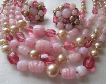 1950s Pink Art Glass MUlti Strand Necklace Set Japan