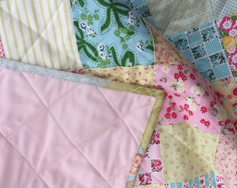 Pink Floral Baby Quilt