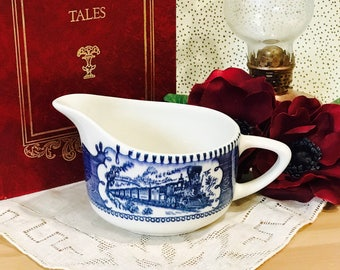Vintage Currier and Ives Creamer Blue and White Train Scene