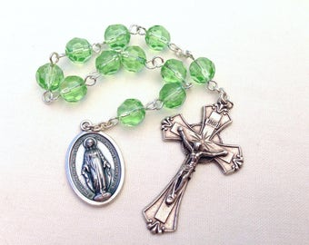 Green Pocket Rosary, Baptism gift, Confirmation Gift, First Communion gift, Girl's Rosary beads, Miraculous Medal Rosary