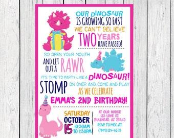 Dinosaur Personalized birthday invitation- ***Digital File*** (Dinosaur-PnkBorder)