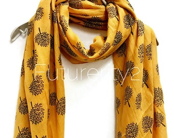 Mulberry Tree Mustard Yellow Scarf / Spring Summer Scarf / Autumn Scarf / Gifts For Her / Women Scarves / Accessories / Handmade
