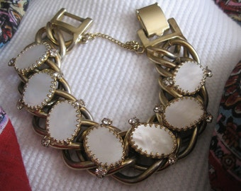 Vintage Kafin New York Mother of Pearl and Rhinestone Heavy Gold Tone Link Bracelet