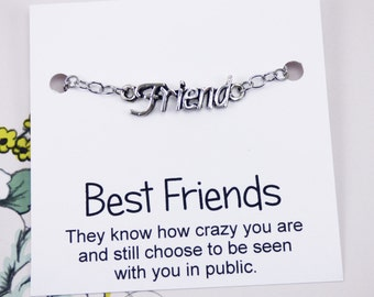 Friend Bracelet, bff presents, best friend jewelry, friendship presents, word bracelets, best friend presents, meaningful, inspirational