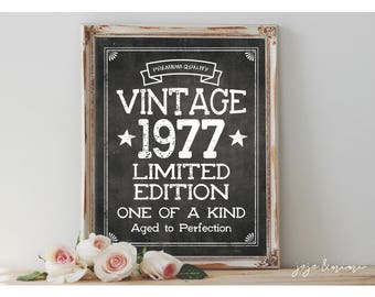 Instant VINTAGE 1977 Limted Edition Aged to Perfection Printable 8x10, 11X14 Birthday Party Sign Party Printable Chalkboard Fourties