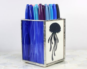 Glass Pencil Cup Holder, Executive Office Decoration, Jellyfish Pen Holder, Ocean Decor Desk Decor, Desk Pencil Holder, Beach Decor