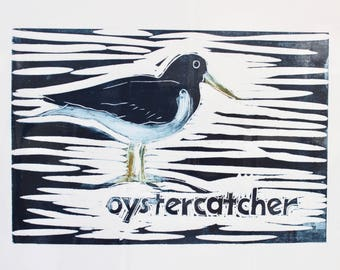 Oystercatcher original lino cut