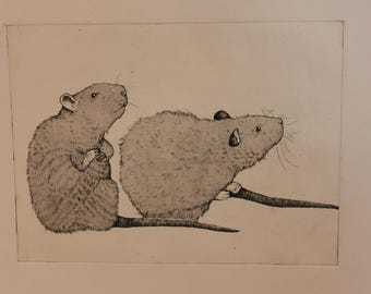framed rat etching