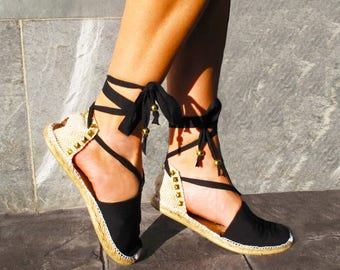 IBIZA Studded Lace Up Women Espadrilles Organic Cotton, vegan shoes