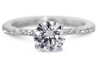 Engagement Ring 1.5 Carat GIA H-SI1  Round Brilliant Cut Diamond Engagement Ring18K White Gold #J71592  FREE SHIPPING