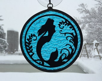 Handmade Stained Glass Mermaid Scene Suncatcher