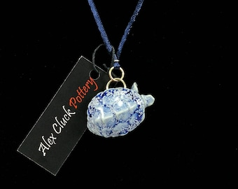Carved Porcelain Turtle Pendant