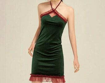 Velvet slip with lace detailing-green velvet slip-velvet mini dress-party dress-wear to be seen-slip dress-princess dress-