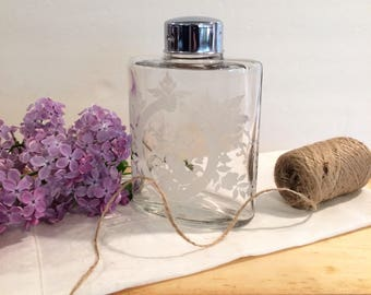 Glass Bottle Etched Powder Room Boudoir Vanity french Farmhouse Decor