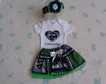 Seattle Seahawks Personalized Baby Girl Onesie, Skirt and Headband