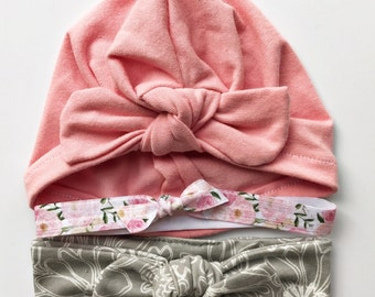 Perfectly Petite : Gift Set -1 orchid pink baby turban hat, 1 elastic headband and 1 skinny top knot