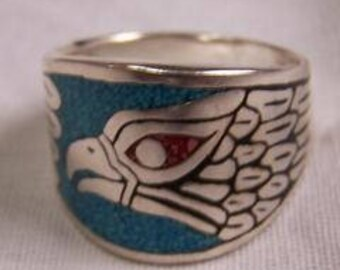 Turquoise Eagle Ring Sizes 7-14