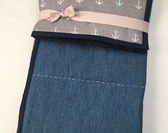 Denim Gray anchors muslin Quilt-blanket, double gauze blanket, baby quilt , cuddle blanket, muslin quilt, gauze blanket, stroller blanket