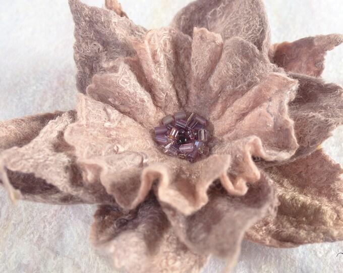 Wool Felted Brooch Felt Jewelry Felt Brooch Beige Flower Stylish Women brooch Statement Piece Floral Scarf Brooch Pin Anniversary Gift