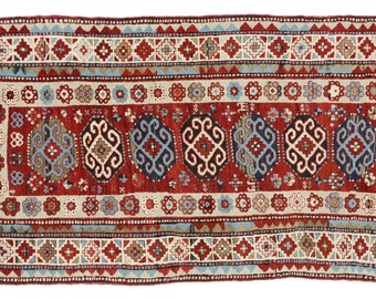 Antique Russian Kazakh Rug Runner with Modern Tribal Style - 4'4 x 8'6