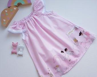 Girls summer dress, size 4, unicorn dress, tadah seaside, girls dress, pink dress