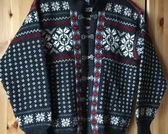 Vintage classic  Dale of Norway dark grey cardigan size M made in Norway