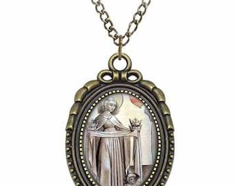 St Godelieve Catholic Necklace Bronze Medal w Chain Oval Pendant Saint Vintage