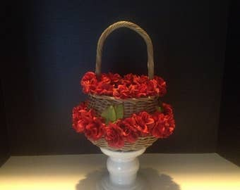 Red Roses Too Flower Girl Basket