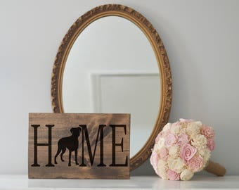 Home Sign with Boxer Silhouette on Stained Wood, Dog Decor, Dog Painting, Gift for Dog People, New Puppy Gift, Housewarming Gift