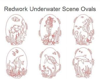 Redwork Underwater Scene Ovals Machine Embroidery Designs Pack Instant Download 4x4 5x5 6x6 hoop 10 designs APE2455