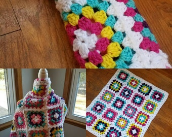 Retro Baby Blanket // Granny Square Blanket // Ready to Ship