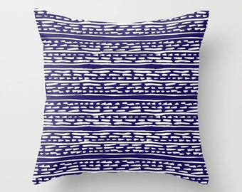 Lines and Dots Pillow with insert - Modern Pillow with insert - Blue pillow with insert - Modern Home Decor -