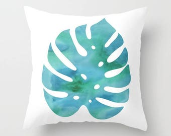 Monstera Leaf Pillow Cover - Modern Leaf Pillow Cover - Philodendron Leaf Pillow Cover - Teal Decor - Modern Home Decor - By Aldari Home