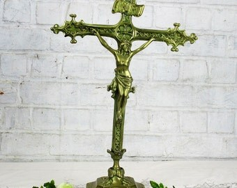 Large Antique Brass Altar Crucifix Christ Cross Fleur de Lis French Gorgeous 21""