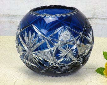 Crystal Cobalt Blue Clear to Cut Bowl Vase Dot Star Beautiful