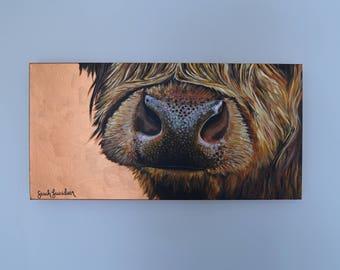 Scottish Highlander Nose - Copper Background