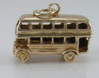 Vintage 3D 9ct Gold London Double Decker Bus Charm H/MK 1966