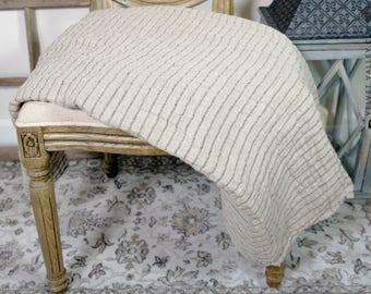 Linen Bed Throw-Twin Size Bedspread-Hypoallergenic Linen-Unbleached Linen Bed Quilt-Summer Blanket -Picnic Blanket - Bed Cover